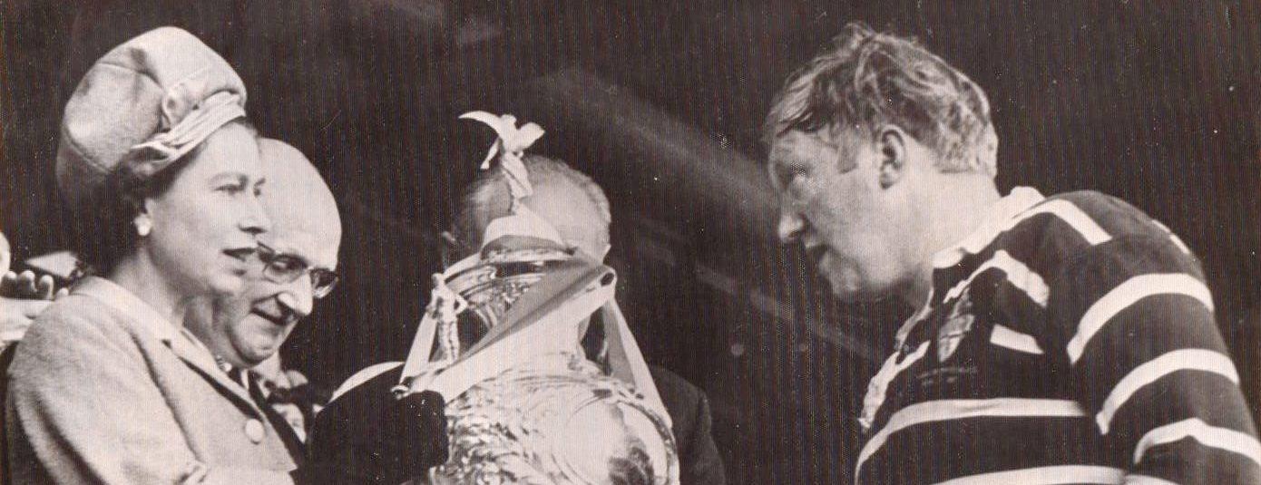 HM Queen Elizabeth II presents the 1967 Challenge Cup to Featherstone captain Max Dixon.
